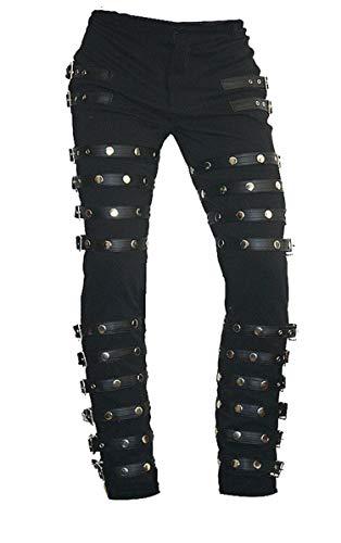 Michael Jackson Bad Concert Tour MJ Metal Rocks, Lederhose, Schwarz Gr. Small, Echtlederhose