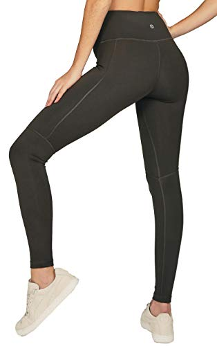 Alana Athletica High Waisted Womens Yoga Pants - Tummy Control & 2 Pockets - The Dash Side Pocket Legging Grey
