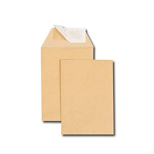 Caja de 500 fundas kraft marrón C6 114 x 162 90 g/m2 banda de protecció