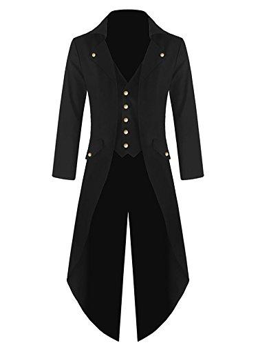 Pxmoda Herren Frack Mantel Steampunk Gothic Jacke Vintage Viktorianischen Cosplay Kostüm Smoking Jacke Uniform Mittelalter Kleidung Weste Jacke Waistcoat Waffenrock, 2 - Schwarz, L