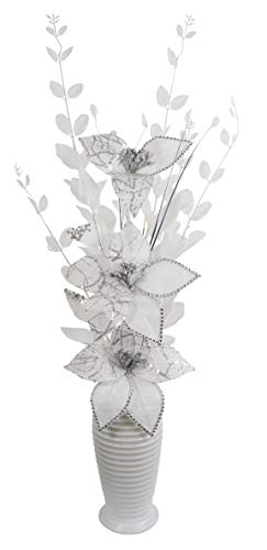 Flourish Silver Artificial White Diamante Vase, Table Decorations, Home Accessories, Window Ornament, Living Room Flowers, Height 70cm, Fabric, 15 x 34 x 70 cm