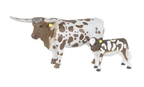 Big Country Farm Toys Longhorn Cow & Calf - 1:20 Scale - Hand Painted - Farm Toys - Farm Animal Toys