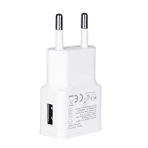 NXACETN Chargeur De T¨¦l¨¦phone USB Unique Adaptateur De Voyage ¨¤ Domicile Portable 5V 2A Compatible avec Samsung Compatible avec Huawei blancNone * Prise UE