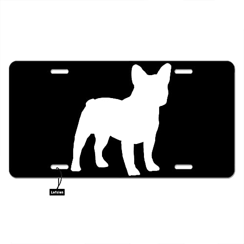 Lefolen White French Bulldogs Front License Plate Covers Adorable Aniaml Puppy Dog Pet Portrait On Black Decorative Car Mental Plates Vanity Tag Aluminum Novelty License Plate 6 X 12 Inch