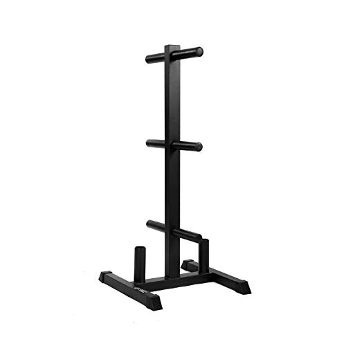 """Weight Rack and 2 Bar Holder for 2"""" Olympic Plates by D1F – Free-Standing Sturdy Plate Racks Stand with 6 Pegs for Weighted Plates and Barbells - Stores Up To 850 lb - Gym Equipment Accessories"""