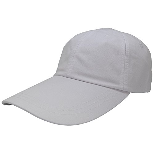 Sunbuster Extra Long Bill 100% Washed Cotton Cap with Leather Adjustable Strap - White
