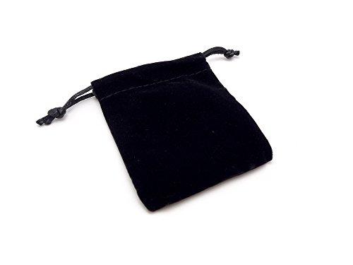 (SAJ) ベロア 巾着袋 ポーチ ギフト ラッピング ブラック 黒 (7cm×9cm) (1個)