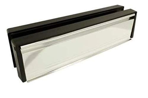 Briefkasten/Briefschlitz für uPVC-Türen - Frontpaneel in Edelstahlfarben (poliertes Chrom) - 20-40 mm Türtiefe - 30,48 cm breit