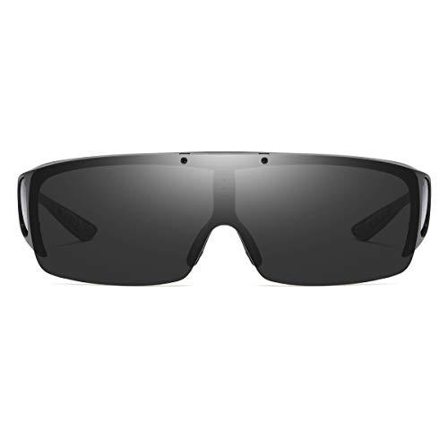 FLIP UP Polarized Fitover Shield Wrap Sunglasses over Prescription Eyeglasses with Side Windows 100% UV400 Protection (Matte Black | Gray lens)