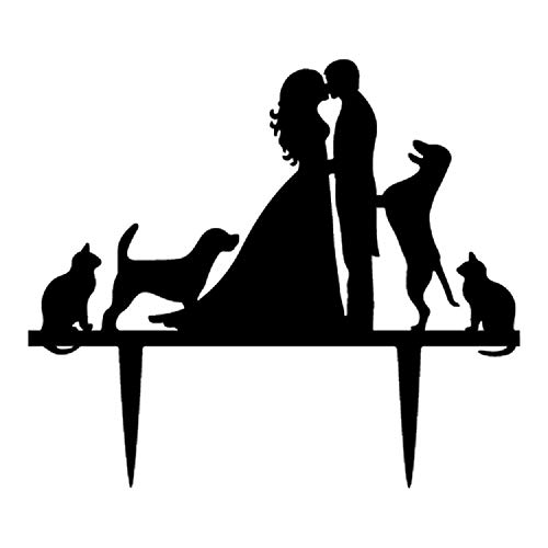 Wedding Cake Toppers Bride and Groom With Dogs and Cats Animal Silhouette Wedding Engagement Decoration