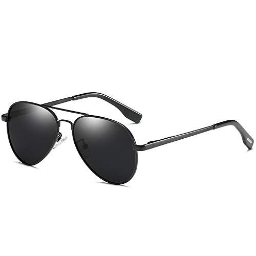 QINGZHOU Gafas De Sol,Gafas De Sol Polarizadas Punk Película De Color Espejo De Rana Cara Pequeña Sombra De Moda, Marco Negro Negro Gris Hoja C1
