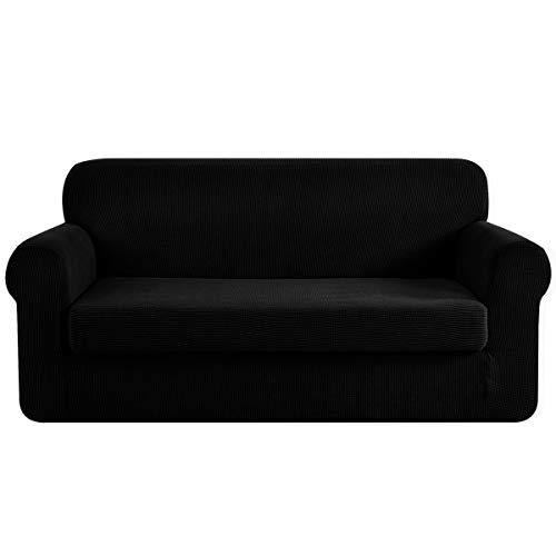 CHUN YI Stretch Sofa Slipcover 2-Piece Couch Cover, 3 Seater Coat Soft with Elastic Bottom, Checks Spandex Jacquard Fabric, Large, Black