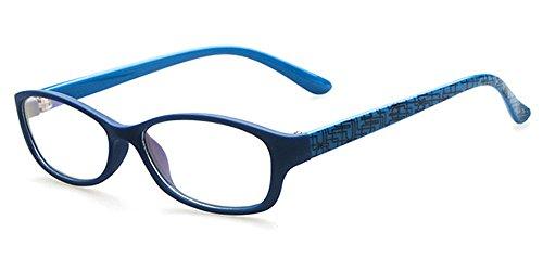 BOZEVON BOZEVON Unisex Kinder Trendige Brillen Myopie-Brillengestell Elegant Klassisches Nerd Brille Rahmen, Blau