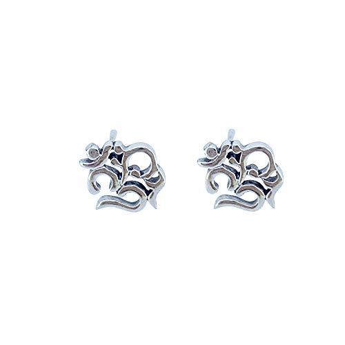 TreasureBay Pendientes de tuerca de plata de ley 925 con símbolo de Om Ohm