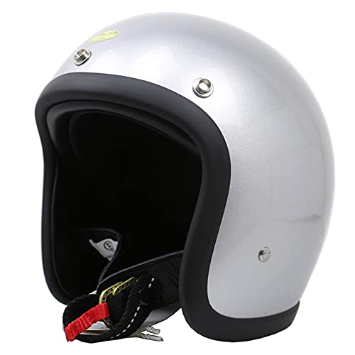 3/4 Motorcycle Open Face Helmet, DOT/ECE Approved 3/4 Helmet with Metal Button Snaps for Extra Visor, Lightweight Vintage Open Face Motorbike Helmet for Men Women,Silver,M