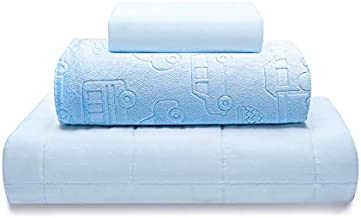 """Thirdream Kids Weighted Blanket 7lbs, 3 Pieces, 41"""" x 60"""", Twin Size, with 2 Removable Washable Covers, Soft Minky Cover and Ice Silk Cover, Blue"""