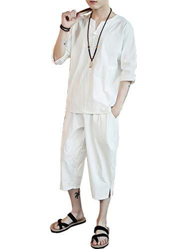 Mythy Tシャツ メンズ 半袖 トップス ハーフ ショート パンツ 上下 セット アップ 綿麻 無地 刺繍入り 休暇 オフ ルームウエア 部屋着 白 M
