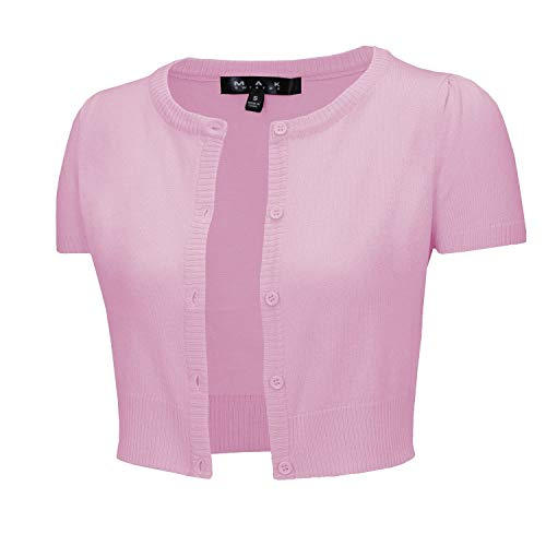 YEMAK Women's Cropped Bolero Button Down Short Sleeve Cardigan Sweater CB0536-LPK-M Light Pink