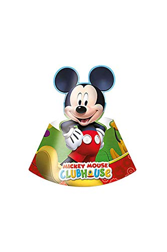amscan 81516 Pack 6 Gorros Mickey Mouse, cartón, Multicolor