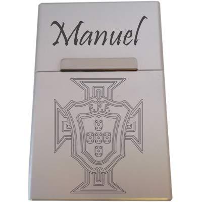 Boite à Cigarette gravée personnalisée Croix du Portugal Drapeau Football +prénom au Choix