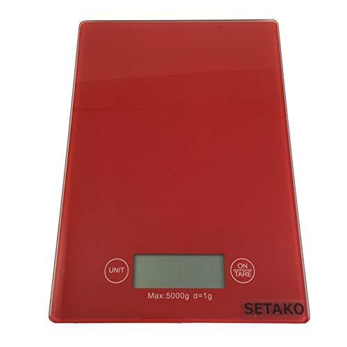 SETAKO 勢田工業 1g単位で最大5kg計量 デジタルスケール キッチンスケール 精密はかり 電子秤 簡易日本語説明書付 (レッド)