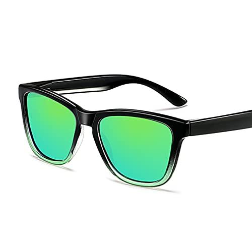 FDNFG Gafas de Sol Diseño Negro Hombres polarizados Gafas de Sol Mujeres clásico Retro conduciendo Gafas de Sol Femenino Masculino UV400 Gafas Gafas Gafas Gafas de Sol (Lenses Color : Green)