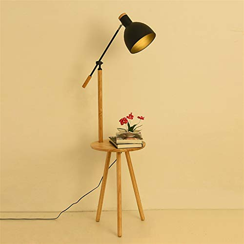 LED Floor Lamp With Bedside Table And USB Charging Port, Modern Bedside Table Lamp With Living Room Table, Suitable For Wedding Room Bedroom (without Light Bulb) ( Color : Black , Size : With USB )