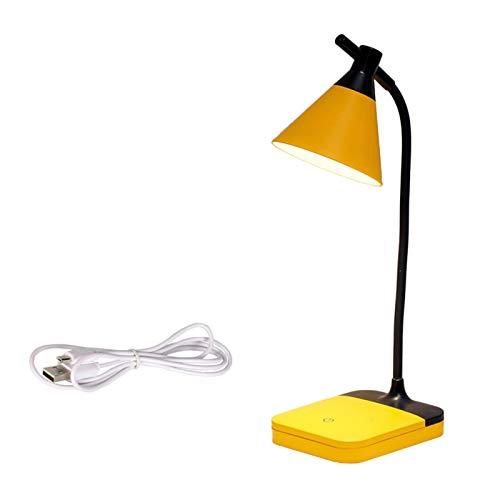 Lámpara de mesa Lámpara de escritorio LED ajustable Lámpara de mesa táctil dimmable con flexible USB Dormitorio recargable Lámpara de noche LED Lámpara de lectura Luz de noche ( Body Color : Yellow )