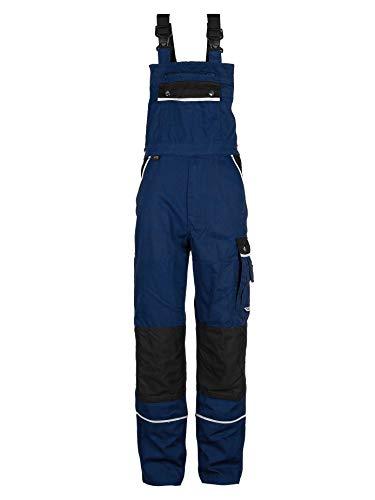 TMG® Arbeitslatzhose Herren, Lange Arbeitshose mit Latz und Kniepolstertaschen Navy Dunkelblau 50