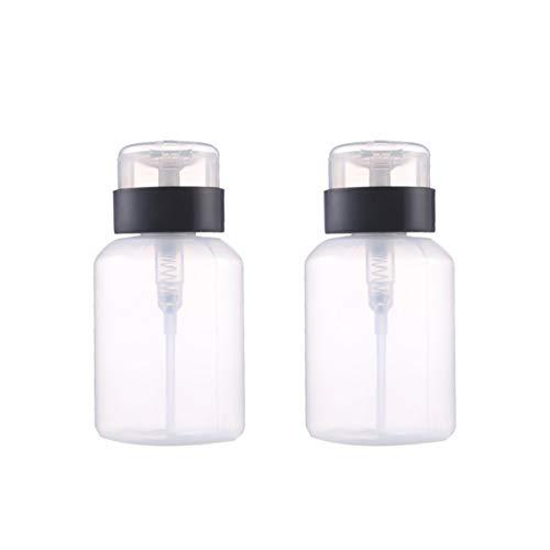Healifty distributeur de bouteille à pompe vide bouteille verrouillable pour alcool acétone dissolvant pour vernis à ongles et démaquillant toner etc. 2pcs (210ml)