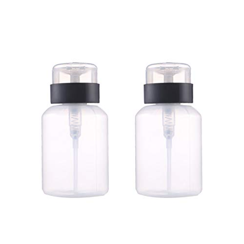 Healifty dispensador de botella de bomba vacía empuje hacia abajo botella bloqueable para alcohol acetona esmalte de uñas y desmaquillante tóner etc. 2 piezas (210 ml)