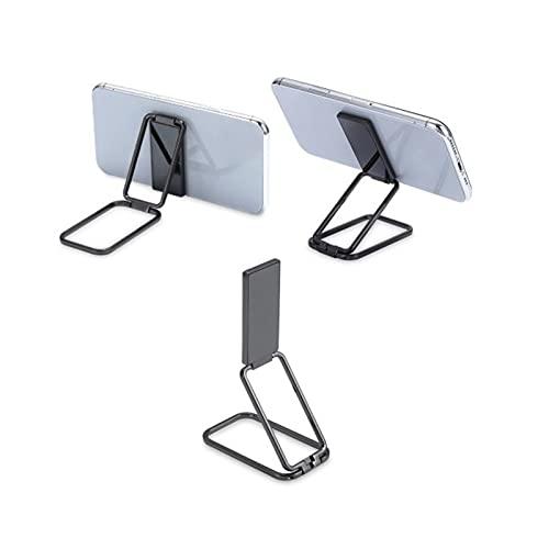 1/2Pcs Finger Kickstand Retractable Magnetic Phone Ring Holder 360° Rotation Foldable Metal Ring Grip Stand, Portable Folding Mobile Phone Bracket (Black)