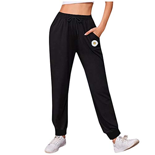 qiaoxiahe Women Pants Solid Color Easy High Waist Leisure Time Sweater Pants Hip Hop Pants Casual Pants Sports Trousers Solid Color Sweatpants Running Trousers with Pockets, Black