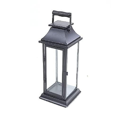 lámparas de queroseno Lámpara de vela retro de vidrio de hierro forjado negro de estilo europeo, decoración de vela creativa de la vela de la boda de la lámpara de queroseno Lámpara de aceite antigua