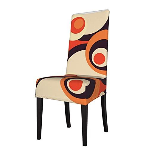 Funda de Asiento para Silla Retro Naranja y marrón de los años Cincuenta Arte Abstracto Fundas para sillas de Comedor Fundas elásticas Protector de Silla Lavable