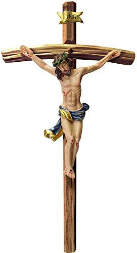 Kaltner Präsente Geschenkidee - 35 cm Wandkreuz Kruzifix mit Jesus Christus Figur aus Kunststein Kreuz aus Holz nussbaumfarbig Hand bemalt