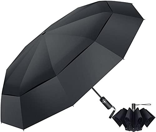 Regenschirm Sturmfest mit Auf-Zu Automatik, Winddicht Stabil Schirm Leicht Kompakt Umbrella Transportabel Taschenschirme mit 10 Rippen, Ergonomischem Griff für Damen und Herren