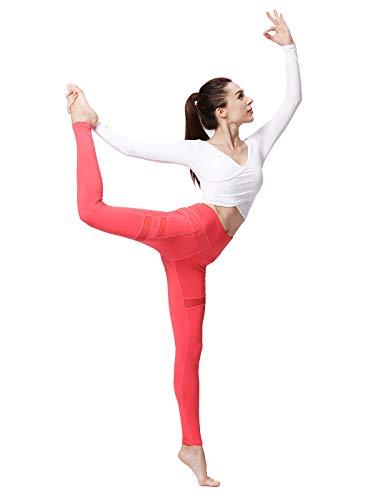 WZGGZWGG - Leggings de yoga para mujer, control de barriga, ultra suave, longitud completa (color: malla roja, tamaño: XS a EE. UU.)