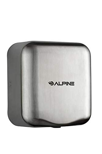 Alpine Hemlock Automatic High Speed Hand Dryer - Heavy Duty Stainless Steel - Commercial High Speed Hot Air Hand Blower | 1800Watts | 110-120Volts | Quick & Easy Installation (Chrome)
