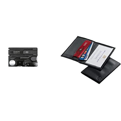 Victorinox Swisscard Lite - Navaja Multiusos Formato Tarjeta, Con Luz Led, 4,5 X 82 Mm, 26 G, Color Negro + 4.0873.L, Tarjetero Para Tarjeta De Crédito, Negro