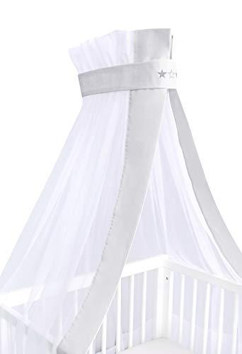 Amilian® Chiffonhimmel Himmel Betthimmel für Baby Kinder mit Stickerei (Sternchen Hellgrau, Chiffonhimmel mit Himmelstange)