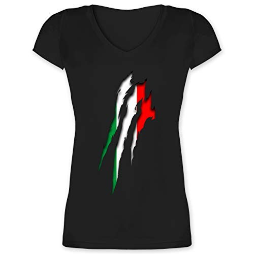 Länder - Italien Krallenspuren - M - Schwarz - Geschenk - XO1525 - Damen T-Shirt mit V-Ausschnitt