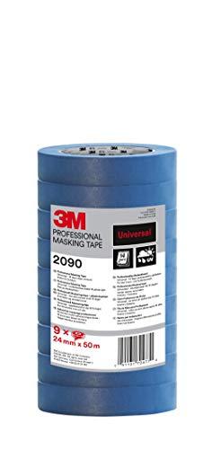 3M 2090 Profi Malerband für glatte Oberflächen, UV-beständig, innen und außen, Vorteilspack mit 9 Rollen, 24 mm x 50 m
