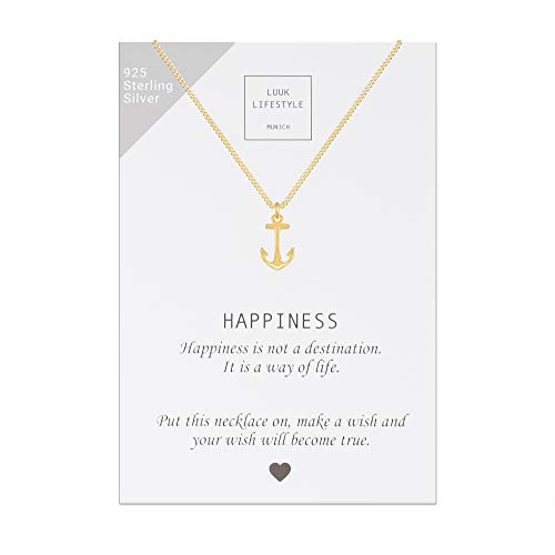 LUUK LIFESTYLE Collar de plata de ley 925 con colgante de ancla y cita Happiness, joya de mujer, tarjeta de regalo, amuleto, oro