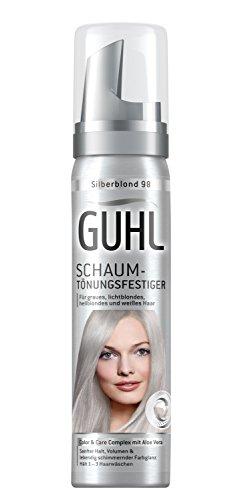 Guhl Schaum-Tönungsfestiger 98 Silberblond - 1er Pack (1 x 75 ml) - mit Aloe Vera - schenkt sanften Halt - für graues, lichtblondes, hellblondes und weißes Haar