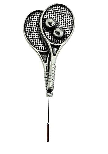S9 - Raquetas de tenis con diseño de peltre fino inglés en un alfiler de corbata, bufanda y cuello