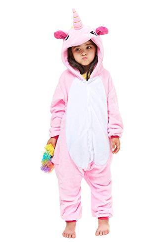 ABYED Einhorn Kostüm Jumpsuit Onesie Tier Fasching Karneval Halloween kostüm Damen mädchen Herren Kinder Unisex Cosplay Schlafanzug, Rosa Einhorn, Größe 125 - für Höhe: 136-145 cm (9-11 Jahre)