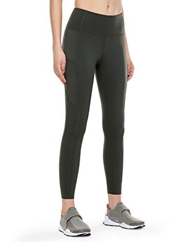 CRZ YOGA Damen Sports Leggings Sporthose-Hohe Taille,Nackte Empfindung,Mit Seitentaschen-63cm Olivgrün - Seitentaschen XS(36)