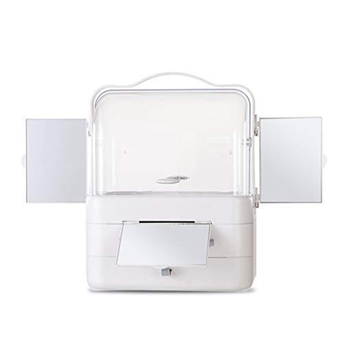 JAY-LONG Tragbare Kosmetikbox Mit 3 Schminkspiegeln | Aufbewahrungsständer Für Die Palette Der Make-Up-Organisatoren, Regale Für Ihre Lidschatten, Rouge, Schmuck