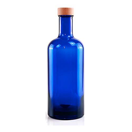 BrandPrint Bottiglia in Vetro Blu per Acqua solarizzata Modello Iside 750 ml con Tappo a Vite in Alluminio Rivestito in Legno. Bottiglia Plastic Free